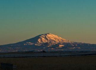 Hekla Vulkan auf Island bei Sonnenaufgang